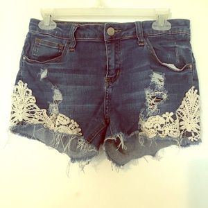 Woman's ripped jean shorts